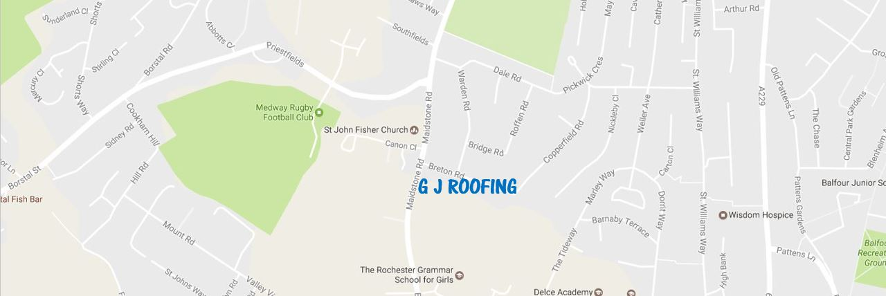 Map Location Of GJ Roofing Rochester Kent.